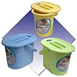Blue Nappy-Pail With Lid,Perfect to store dirty nappies, with handle, removable lid and grip recess in the bottom for easy emptying