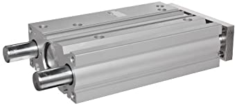 SMC MGP Series Aluminum Air Cylinder with Guide Rod Plate, Slide Bearing, Compact, Double Acting, Switch Ready, Cushioned