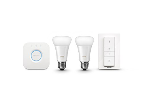 Philips 461012 Hue White Ambiance Starter Kit (2 A19 Bulbs, 1 Bridge, and 1 Dimmer Switch), Works with Amazon Alexa (Hue A19 Starter Kit compare prices)