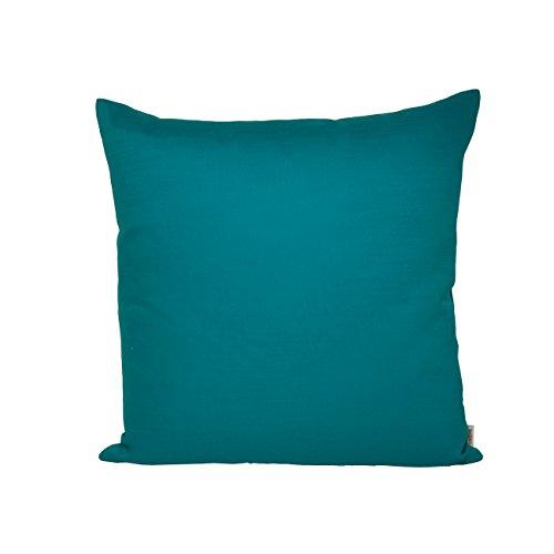 beties Farbenspiel Kissenhülle ca. 40x40 cm in interessanter Größen- und Farbauswahl 100% Baumwolle hochwertig & angenehm Uni Farbe (petrol)