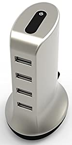4 Port USB Desktop Rapid Charger, Lightning Power Tower®, High Speed Charging Hub for iPhone, Samsung, iPad, Sony, HTC devices
