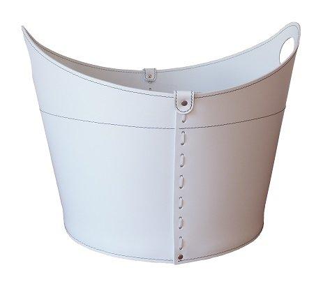 CADIN: borsa in cuoio portalegna e/o pellet, in cuoio rigenerato colore Bianco, con ruote gommate.