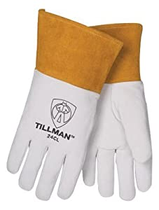 "Tillman Large Pearl Top Grain Kidskin Unlined Premium Grade TIG Welders Gloves With Straight Thumb, 4"" Cuff And Kevlar?Lock Stitching by John Tillman & Co"
