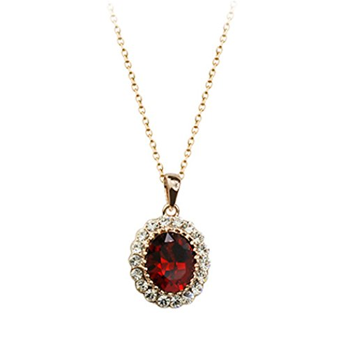 Oval Shaped Swarovski Elements Crystal Pendant Necklace Fashion Jewelry For Women (Ruby Red)