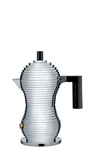 """Alessi MDL02/1 B """"Pulcina"""" Stove Top Espresso 1 Cup Coffee Maker in Aluminum Casting Handle And Knob in Pa, Black"""