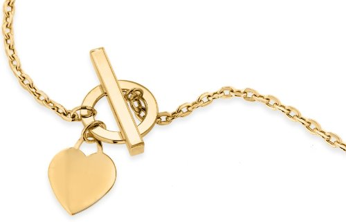 9ct Yellow Gold Heart Tag T-Bar Chain Necklace 46cm