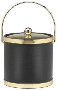 Kraftware Sophisticates Black With Polished Gold 3-Quart Ice Bucket With Metal Cover, Bands And Bale Handle