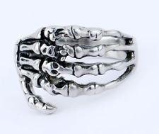 Skullcando 316L Stainless Steel Rings Silver Men's Skeleton Hand Rings Fine Jewely US Size 8
