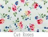 キャスキッドソン/Cath Kidston 柄 生地 【オイルクロス】ハーフサイズ70cm×50cm (Cut Roses ホワイト)