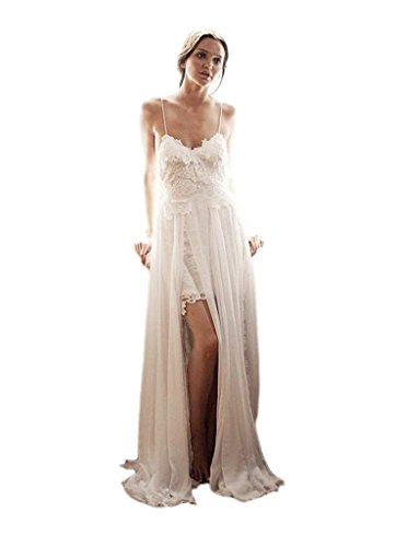 e3cbc8a26d32 Ikerenwedding Women's Spagetti Straps Empire Backless Beach Lace Wedding  Dress Summer Bridal Gown Ivory US12