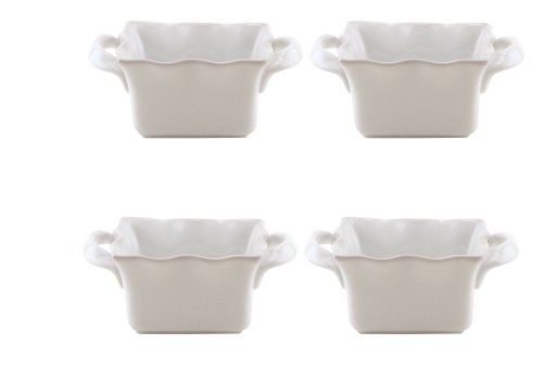 BIA Cordon Bleu Wavy 5-Ounce Square Ramekins, Set of 4, White