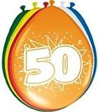 Toy - 8 Luftballons Zahl 50 Geburtstag bunt