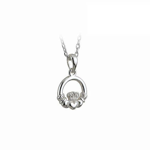 Sterling Silver Childs Irish Claddagh Pendant 16