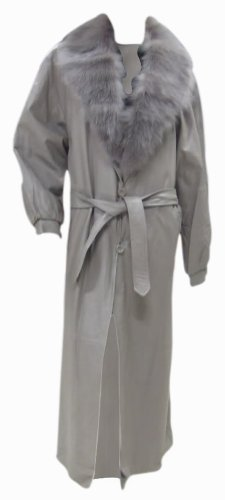 Bergama Grey Soft Light Weight Lamb Nappa Leather Coat with detachable Fox Collar - XXXX-Large - Beige