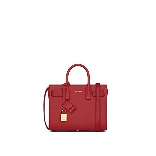(サンローランパリ) Saint Laurent Classic Nano Sac De Jour Bag in Lipstick Red Grainy Leather (並行輸入品) LASTERR