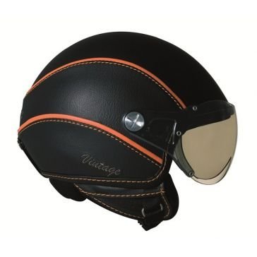 NEXX X60 Vintage - Casque Jet Moto/Scooter Noir/Orange