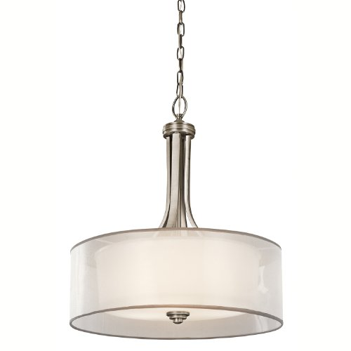 B003XM62O0 Kichler Lighting 42385AP Lacey 3-Light Inverted Pendant, Antique Pewter with Cased Opal Inner Diffusers and White Organza Translucent Outer Shades
