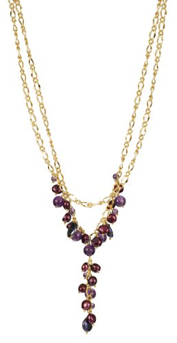 Peacock and Purple Color FWP, Round Amethyst Bead and Gold Tone Chain with Lobster Claw Clasp