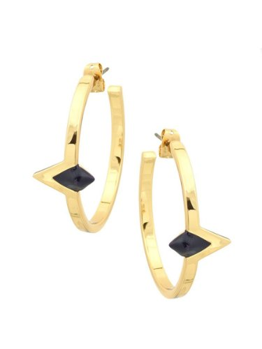House of Harlow 1960 Jewelry Triangle Hoop Earrings - Navy