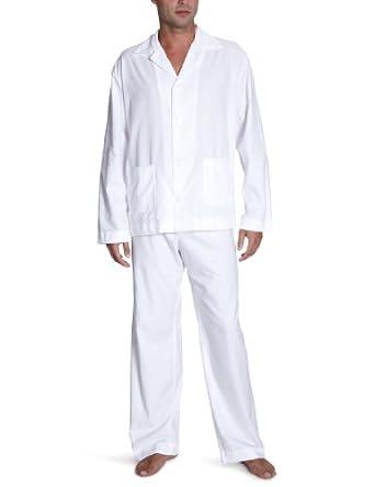 okha herren pyjama herren pyjama baumwolle flanell wei gr 50 wei wei bekleidung. Black Bedroom Furniture Sets. Home Design Ideas