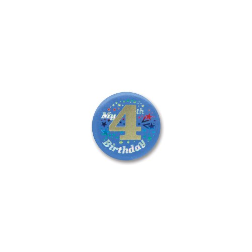 "My 4th Birthday Satin Button (Blue) 2"" Party Accessory - 1"