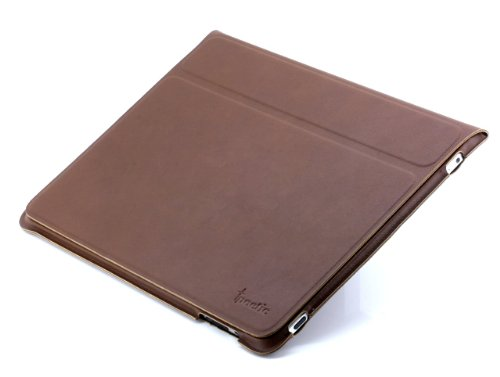 Poetic SlimBook Leather Case Folio with viewing and typing positions for iPad Tablet (Brown)