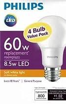Philips New 60-Watt Equivalent A19 LED Light Bulb Soft White - 2700K - 4 Pack