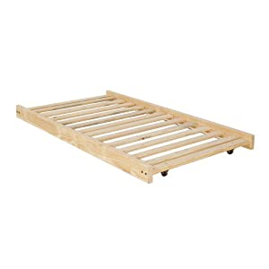 Twin Size Trundle Bed Frame - Unfinished Wood - 100% Clean Solid Wood No Toxins Made in America Simple and Strong!!