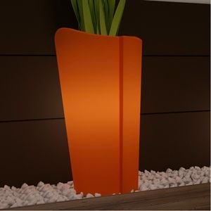 Cache pot lumineux mercutio couleur orange hauteur 60cm jardin - Pot lumineux jardin ...
