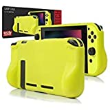Orzly Comfort Grip Case for Nintendo Switch - Protective Back Cover for use on The Nintendo Switch Console in Handheld Gamepad Mode with Built in Comfort Padded Hand Grips - NEON Yellow (Color: YELLOW Grip Case for Nintendo Switch)