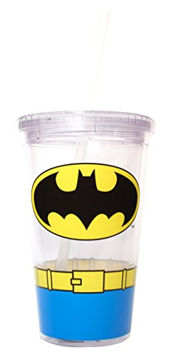 Silver Buffalo BN03087 DC Comics Batman Uniform Clear Plastic Cold Cup with Lid and Straw, 16-ounces - 1
