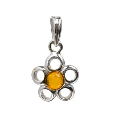 Honey Color Amber Sterling Silver Small Flower Pendant Round Cabochon Diameter 6mm