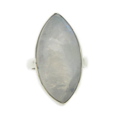 Nova Silver Bemine Large Marquise Moonstone Ring In Size N