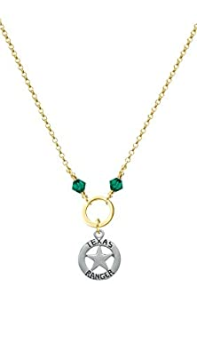 buy Texas Ranger Badge Green Bicone Gold Tone Karma Ring Necklace