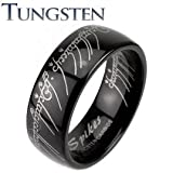 Mens Tungsten Carbide Black Ring Lord Laser Etched 8mm Wedding Band Ring Size R