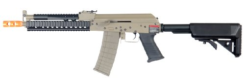 Lancer Tactical Lt-11 Beta Project Ak-47 Ris Electric Airsoft Gun Full Metal Body & Gearbox Fps-380 W/ High Capacity Magazine (Tan)