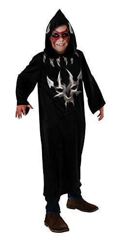 Bristol Novelty Black/Silver Hooded Robe Devil Print Costume Boy's 11-14 Years