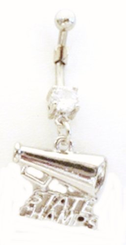 Cheerleader State Champs Megaphone Dangle Belly Ring Body Jewelry