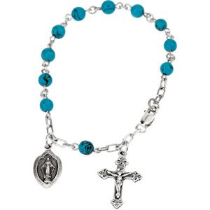 Sterling Silver Turquoise Rosary Bracelet