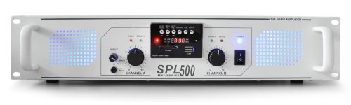 Skytec PA-500 SPL - DJ / PA Amplifier (Play MP3's direct from USB or SD, 500W Max Ouput  &  Built-in FM Radio) - White