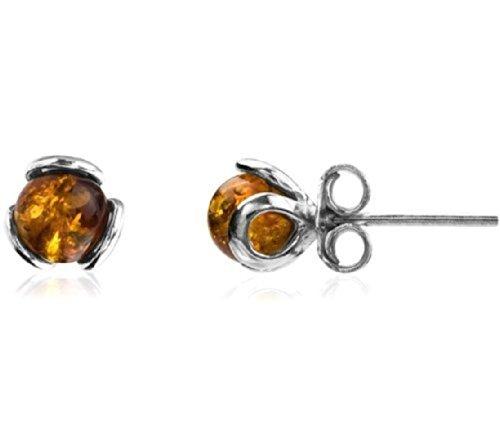 Baltic Honey Amber Sterling Silver Art Deco Stud Earrings