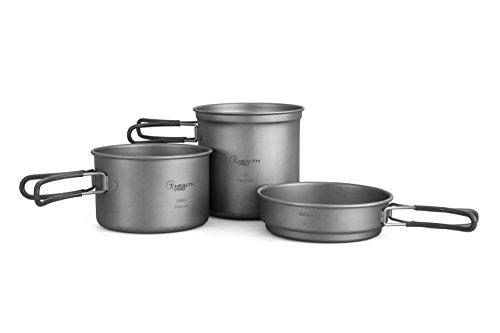 HealthPro Titanium Lightweight 3-Piece Pot and Pan Camping Hiking Cookware Set