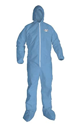 Kimberly-Clark KleenGuard A65 Flame Resistant Fabric Coverall with Hood and Boots, Disposable, Elastic Cuff, Blue