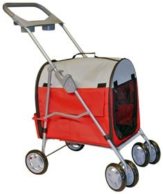 Red Stroller & Carrier for Cats and Small Pets