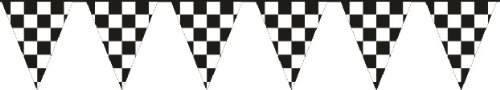 """Black & White Checker Racing Poly Pennant String Garage Sales Parking Lot 48 - 12"""" X 18"""" Pennants On 105' String"""
