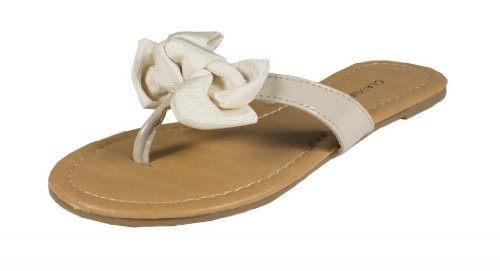 Salus! By City Classified Cute Bow Patent Leatherette Thong Sandal, Bone, 8 M front-885822