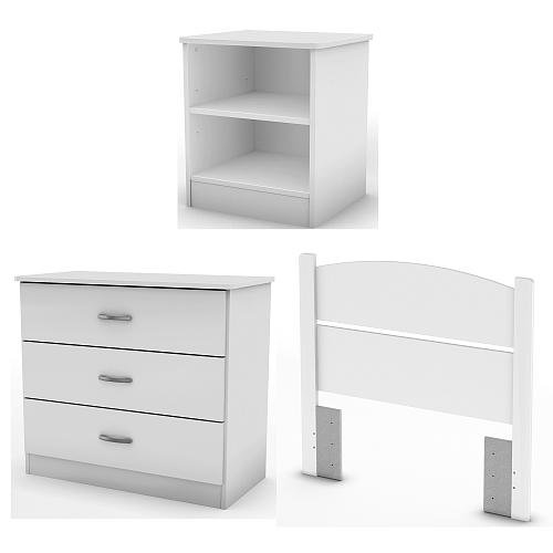 South Shore Libra Collection Twin Bedroom In A Box - Pure White - Home Furniture'S - Drawer Chest - Nightstand - Add A Contemporary Look To Your Room With Its Sleek And Simple Lines - 5-Year Limited Warranty - Made In Mexico front-619510