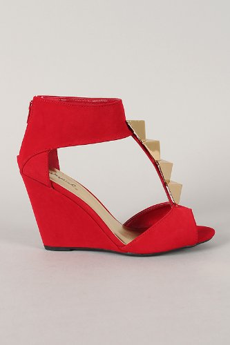 Qupid Flix-03 Red Triangle Stud T-Strap Open Toe Wedge (7)