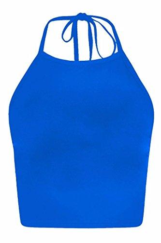 Forever Womens Celebrity Inspired Mandala Print Halterneck Crop Top (Blue Halter Top compare prices)