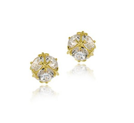 14k Gold CZ Ball Stud Earrings